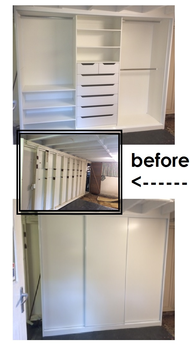 space before and after new wardrobe
