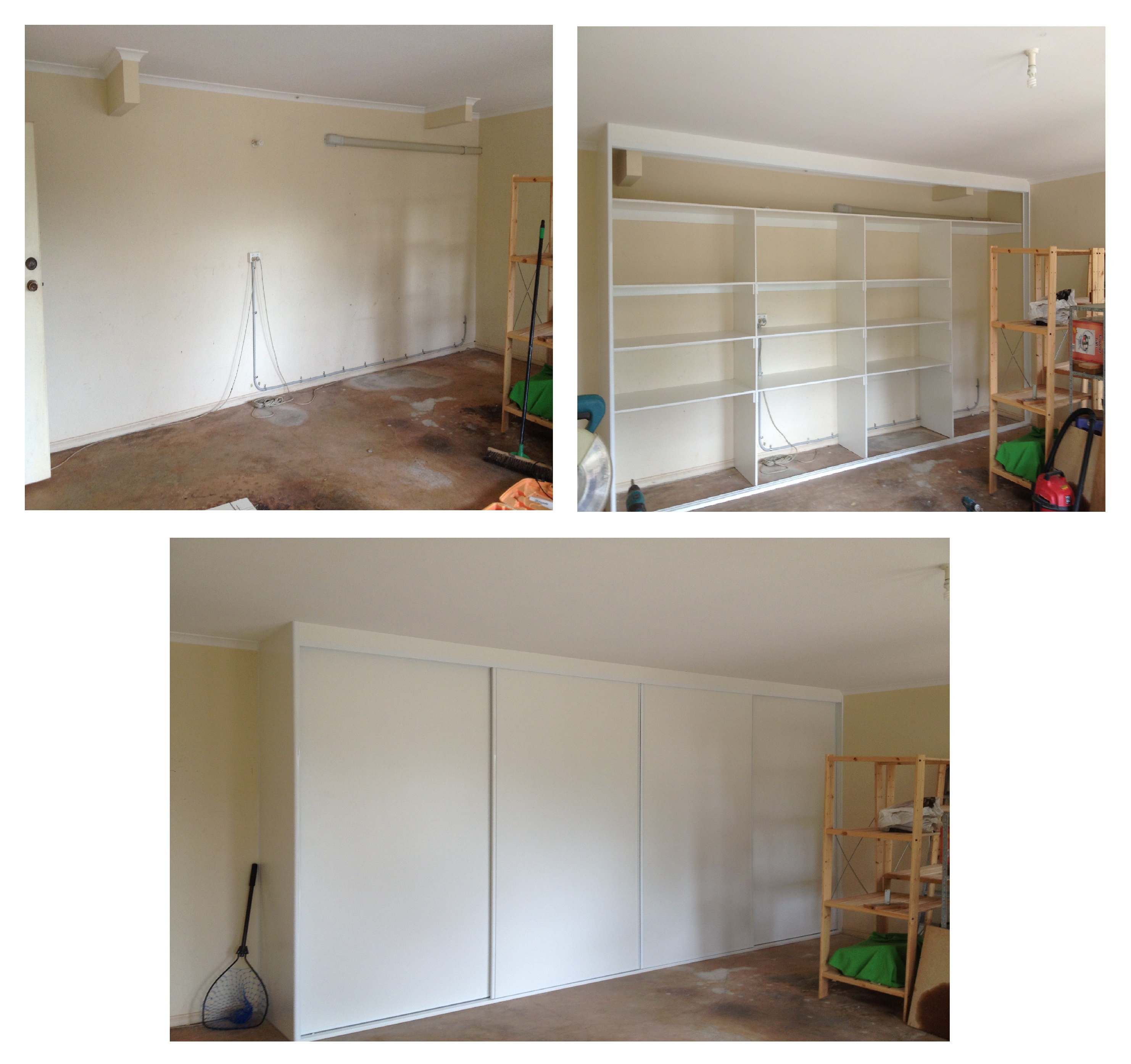 living area before and after of wardrobe design and build