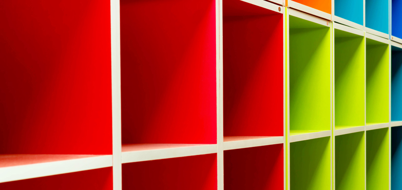 coloured shelving cubes