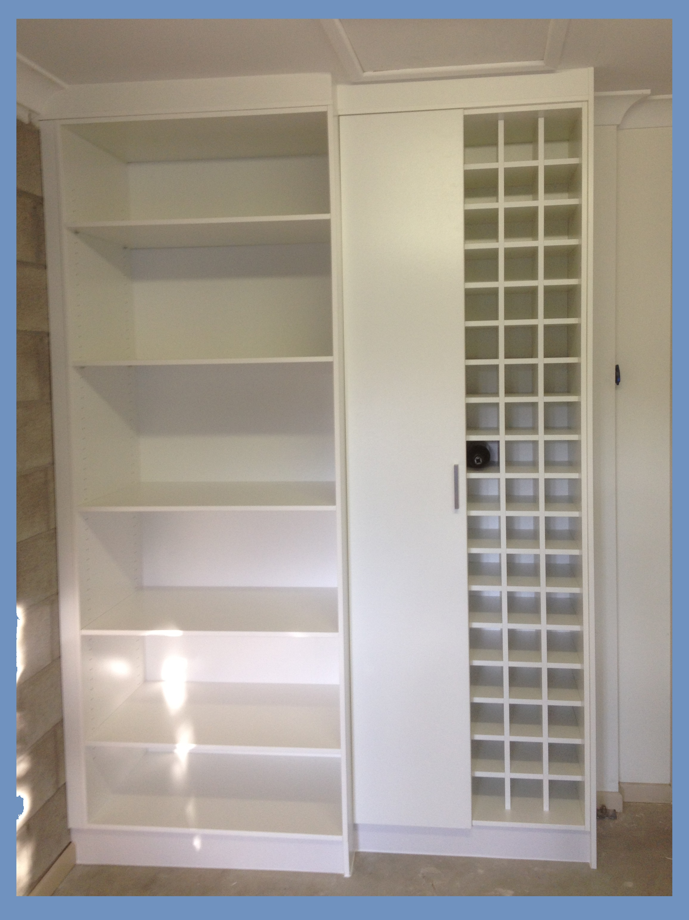 cupboards with wine rack